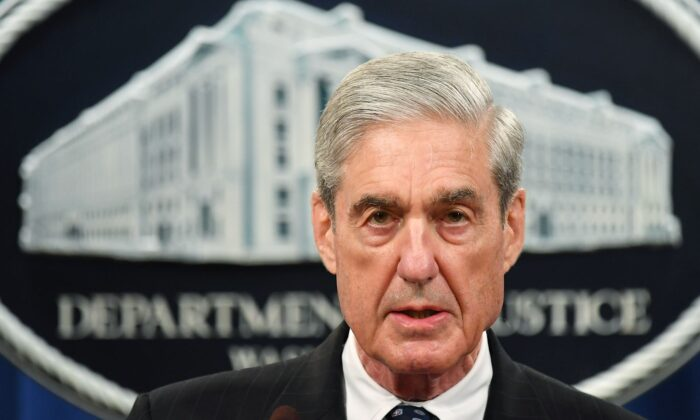 Then-Special counsel Robert Mueller speaks on the investigation into Russian interference in the 2016 presidential election, at the U.S. Justice Department in Washington on May 29, 2019. (Mandel Ngan/AFP via Getty Images)