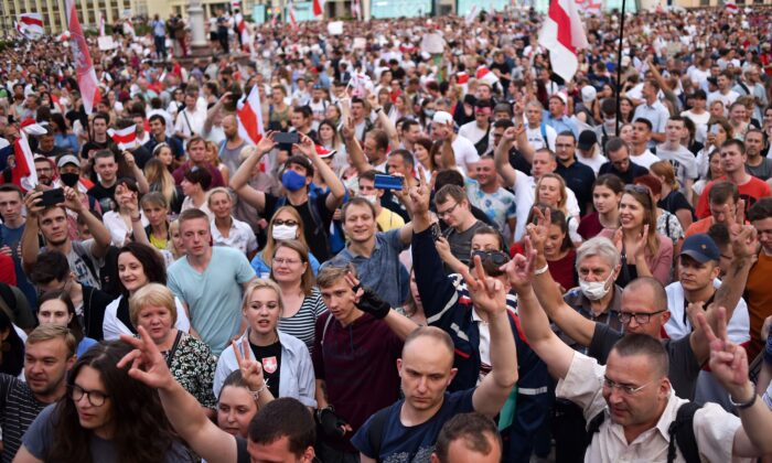 Opposition supporters protest against disputed presidential elections results at Independence Square in Minsk on Aug. 18, 2020. (Sergei Gapon/AFP via Getty Images)