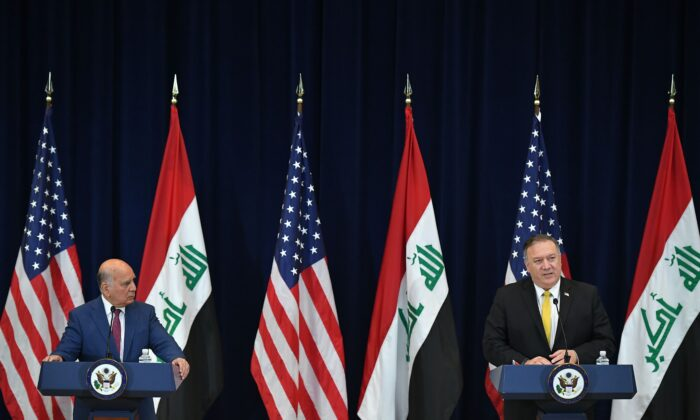 U.S. Secretary of State Michael Pompeo (R) meets with Iraq's Foreign Minister Fuad Hussein during a press conference at the State Department in Washington on Aug. 19, 2020. (Mandel Ngan/AFP via Getty Images)