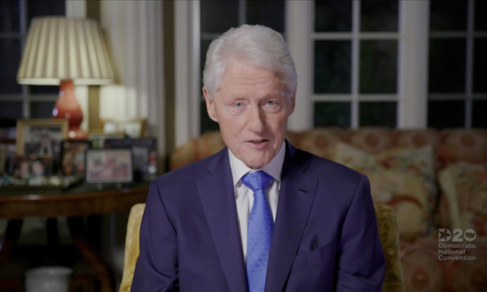 Former U.S. President Bill Clinton addresses the virtual DNC convention on Aug. 18, 2020. (DNCC via Getty Images)