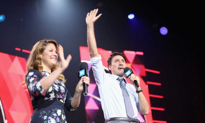 Sophie Gregoire and Canadian Prime Minister Justin Trudeau speak on stage at the WE Day UN at The Theater at Madison Square Garden on September 20, 2017 in New York City.  (Photo by Monica Schipper/Getty Images for We Day)