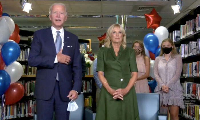 Presumptive Democratic presidential nominee former Vice President Joe Biden and Former Second Lady Dr. Jill Biden together give a thank you speech with supporters during the virtual 2020 Democratic National Convention on Aug. 18, 2020. (Handout/DNCC via Getty Images)