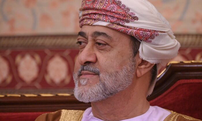 Oman's Sultan Haitham bin Tariq Al Said at the Mat al-Alam palace in the capital Muscat, Oman, on Feb. 21, 2020. (Andrew Caballero-Reynolds/AFP via Getty Images)