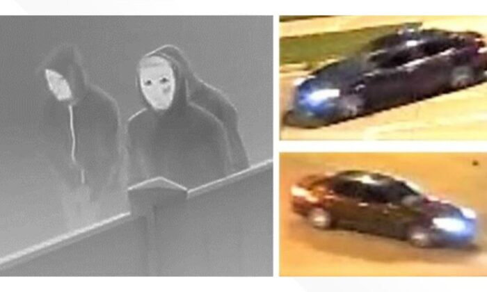 A surveillance photo of the masked suspects believed to have intentionally set a fire that killed a family of 5. (Denver Police)