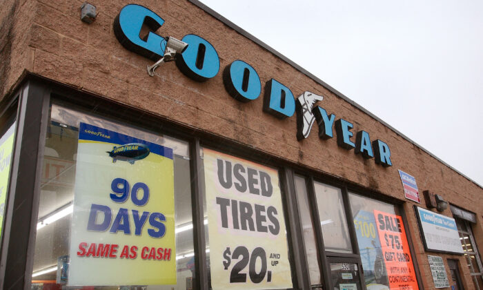 A tire dealer advertises Goodyear products in a file photograph. (Scott Olson/Getty Images)