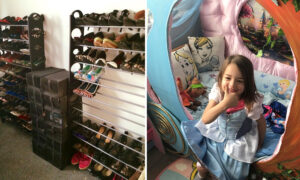 Talented Grandma Transforms Tiny Shoe Room Into a Disney-Themed Paradise for Granddaughter