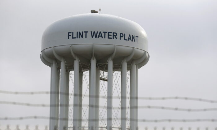 The top of the Flint Water Plant tower in Flint, Mich., in a file photo. (Rebecca Cook/Reuters)