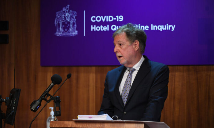 Senior Counsel Assisting the Inquiry Tony Neal speaks during COVID-19 Hotel Quarantine Inquiry in Melbourne, Australia on July 20, 2020. (James Ross - Pool/Getty Images)