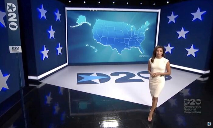 In this screenshot from the DNC's livestream of the 2020 Democratic National Convention, Eva Longoria hosts the virtual convention on Aug. 17, 2020. (DNCC via Getty Images)