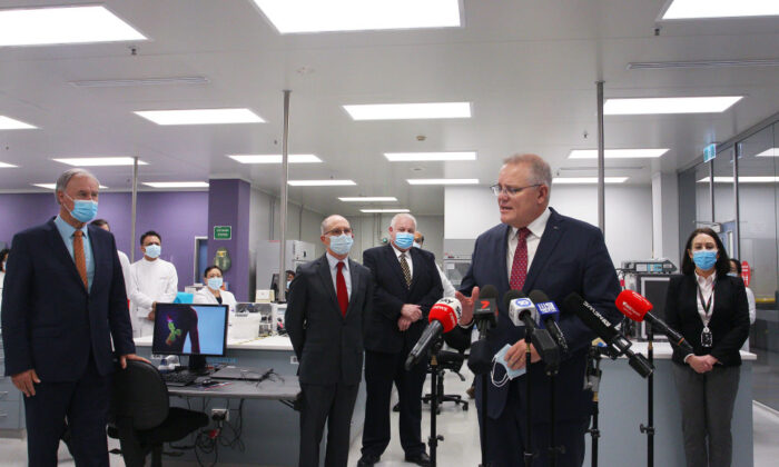 Prime Minister Scott Morrison addresses the media during a visit to AstraZeneca in Sydney, Australia on August 19, 2020. (Lisa Maree Williams/Getty Images)