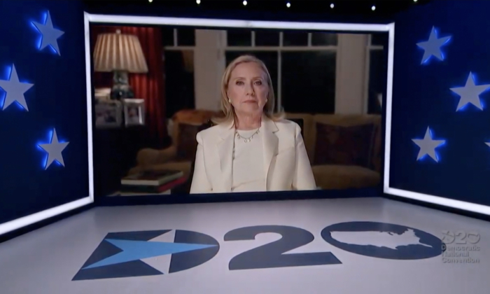 In this screenshot from the DNCC's livestream of the 2020 Democratic National Convention, former first lady and Secretary of State Hillary Clinton addresses the virtual convention on Aug. 19, 2020. (DNCC via Getty Images)