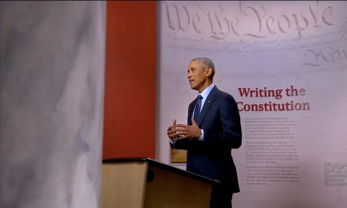 Former U.S. President Barack Obama addresses the virtual Democratic National Convention on Aug. 19, 2020. (DNCC via Getty Images)