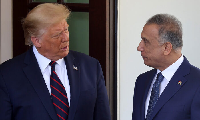 President Donald Trump (L) welcomes Iraqi Prime Minister Mustafa Al-Kadhimi to the White House in Washington, DC on Aug. 20, 2020. (Chip Somodevilla/Getty Images)