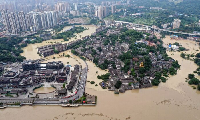 An aerial view of the flooded area in China's southwestern Chongqing on Aug. 19, 2020. (STR/AFP via Getty Images)