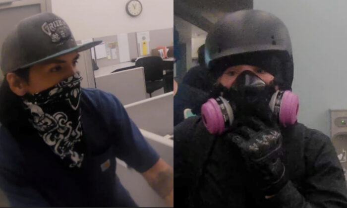 Two suspects in the destruction of offices inside the Multnomah County Justice Center in Portland, Ore., on May 29, 2020. (FBI)