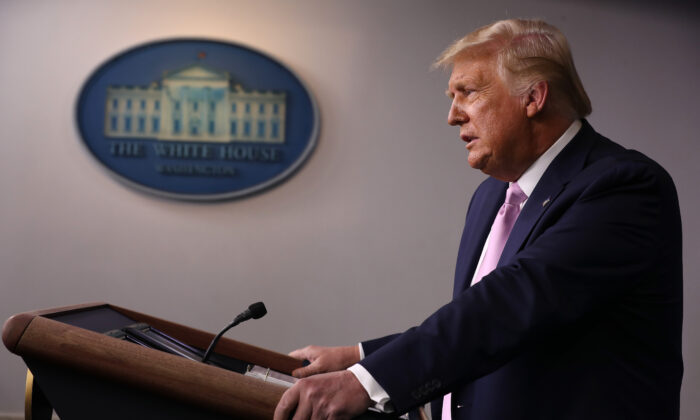President Donald Trump holds a news conference in the Brady Press Briefing Room at the White House in Washington on Aug. 19, 2020. (Chip Somodevilla/Getty Images)