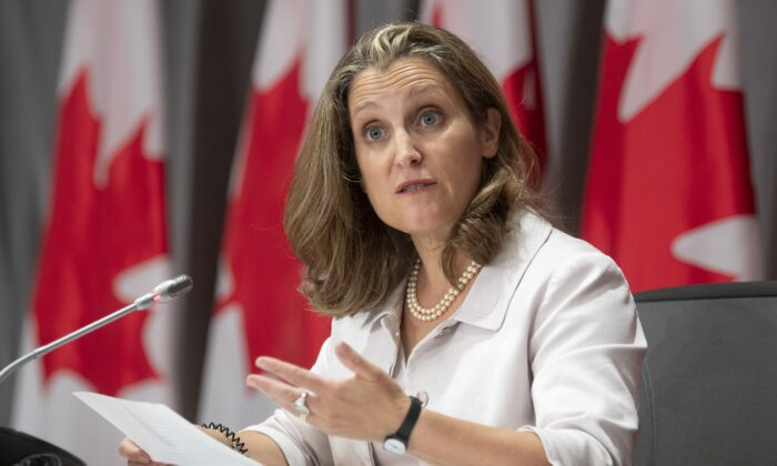 Deputy Prime Minister and Minister of Finance Chrystia Freeland responds to a question during a news conference in Ottawa on Aug. 20, 2020. (The Canadian Press/Adrian Wyld)