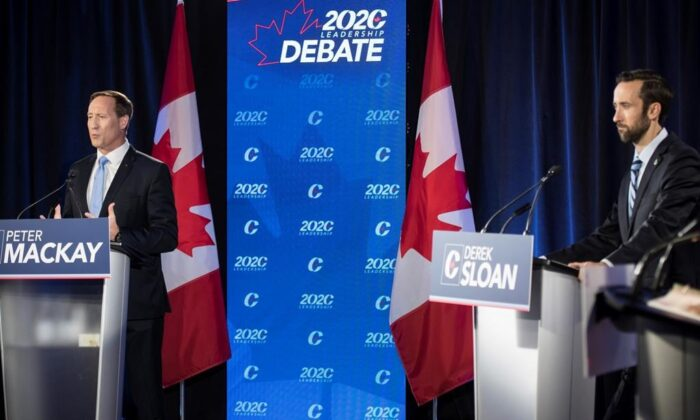 Conservative Party of Canada leadership candidates Peter MacKay (L) and Derek Sloan participate in the English debate in Toronto on June 18, 2020. (The Canadian Press/Tijana Martin)