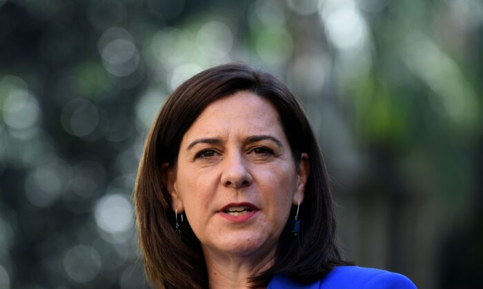Queensland Leader of the Opposition Deb Frecklington is seen during a press conference at Parliament House in Brisbane, Australia, on July 3, 2020. (AAP Image/Dan Peled)