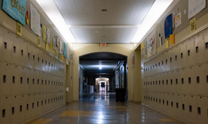 A file photo of empty hallways in El Segundo High School in El Segundo, Calif., on July 29, 2020.  (John Fredricks/The Epoch Times)