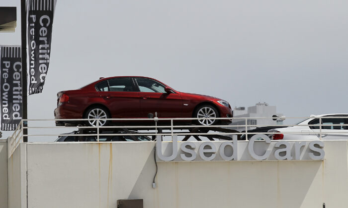 A file photo of a used car on display in San Francisco, Calif., on June 9, 2011. (Justin Sullivan/Getty Images)