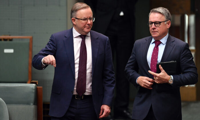 Leader of the Opposition Anthony Albanese (left) arrives with Opposition Minister for Agriculture Joel Fitzgibbon during the opening of the House of Representatives at Parliament House, on June 18, 2020 in Canberra, Australia. (Sam Mooy/Getty Images)