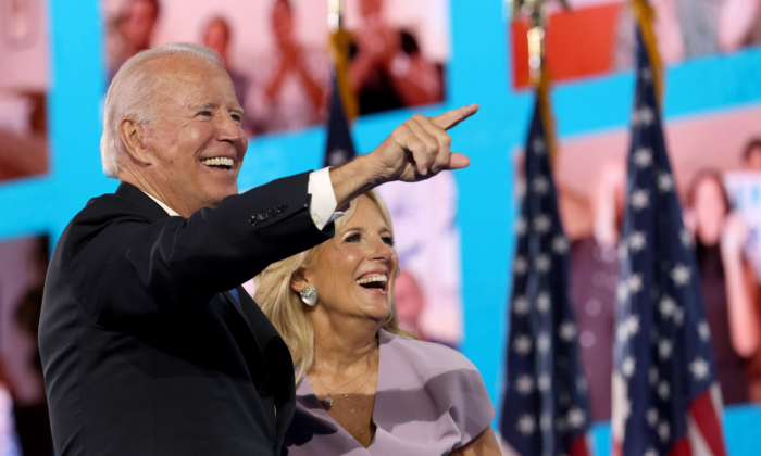 Democratic presidential nominee Joe Biden and his wife, Jill Biden, interact with supporters via video teleconference after Biden delivered his acceptance speech on the fourth night of the Democratic National Convention from the Chase Center in Wilmington, Delaware, on Aug. 20, 2020. (Win McNamee/Getty Images)