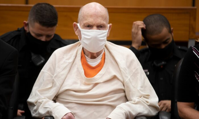 Joseph James DeAngelo sits in court during the third day of victim impact statements at the Gordon D. Schaber Sacramento County Courthouse in Sacramento, Calif., on Aug. 20, 2020. (Santiago Mejia/San Francisco Chronicle via AP/ Pool)