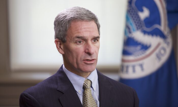 Ken Cuccinelli, the acting deputy secretary of the Department of Homeland Security, in Washington on Aug. 18, 2020. (Brendon Fallon/The Epoch Times)