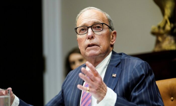White House economic advisor Larry Kudlow speaks during an event at the White House in Washington, on April 7, 2020. (Kevin Lamarque/Reuters)
