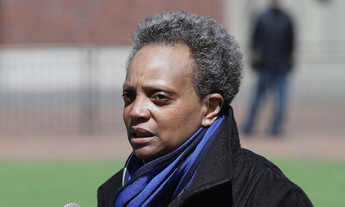 Chicago mayor Lori Lightfoot speaks during a press outside of Wrigley Field in Chicago, Ill., on April 16, 2020. (Jonathan Daniel/Getty Images)