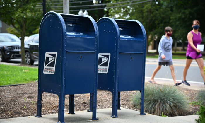 Mailboxes sit outside of a Morris Plains, N.J., post office, on Aug. 17, 2020. (Theo Wargo/Getty Images)