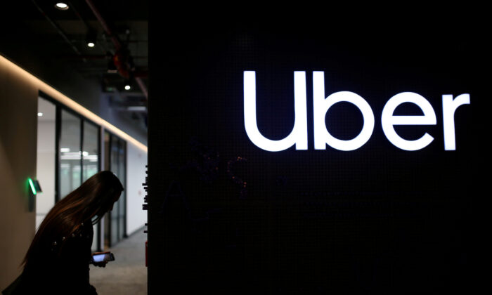 Uber's logo is pictured at its office in Bogota, Colombia, Dec. 12, 2019. (Luisa Gonzalez/Reuters)