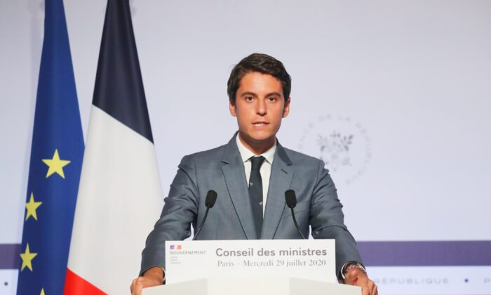 French Government's spokesperson Gabriel Attal delivers a speech after the weekly cabinet meeting at the Elysee Palace in Paris, on July 29, 2020. (Ludovic Marin/Pool via Reuters)