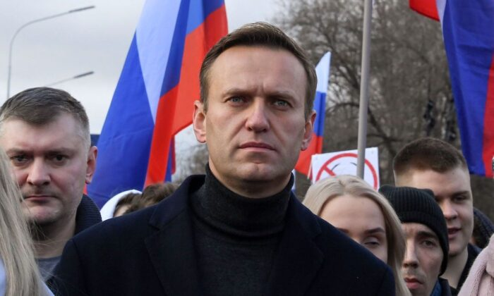 Russian opposition leader Alexei Navalny take part in a march in memory of murdered Kremlin critic Boris Nemtsov in downtown Moscow, Russia, on Feb. 29, 2020. (Kirill Kudryavtsev/AFP via Getty Images)