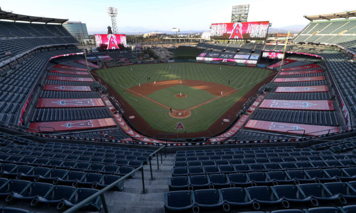 A general view of Angel Stadium of Anaheim  prior to the Los Angeles Angels home opener against the Seattle Mariners in Anaheim, Calif., on July 28, 2020. (Sean M. Haffey/Getty Images)