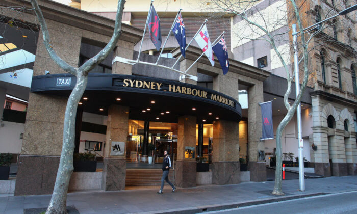 Sydney Harbour Marriott Hotel entrance at Circular Quay in Sydney, Australia on Aug. 19, 2020. (Lisa Maree Williams/Getty Images)