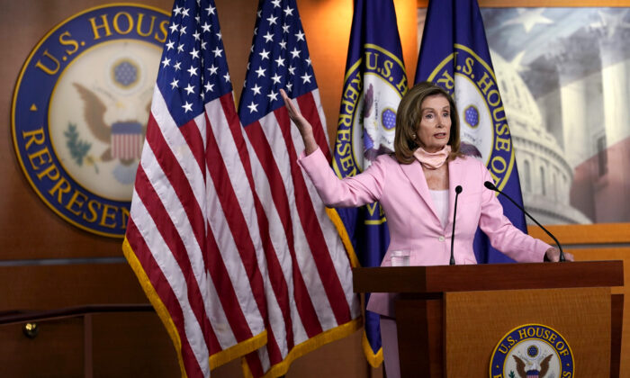 House Speaker Nancy Pelosi (D-Calif.) speaks during a news conference on Capitol Hill in Washington, on Aug. 22, 2020. (Susan Walsh/AP Photo)