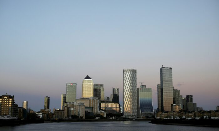 General view of the Canary Wharf financial district, following the outbreak of the CCP virus pandemic, in London, on May 5, 2020. (Marika Kochiashvili/Reuters)