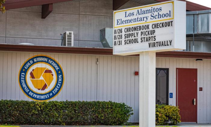 Los Alamitos Elementary School prepares to reopen in Los Alamitos, Calif., on Aug. 21, 2020. (John Fredricks/The Epoch Times)