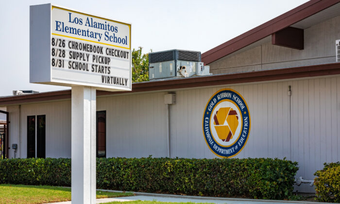 Los Alamitos Elementary School prepares to reopen for in-person learning in Los Alamitos, Calif., on Aug. 21, 2020. (John Fredricks/The Epoch Times)
