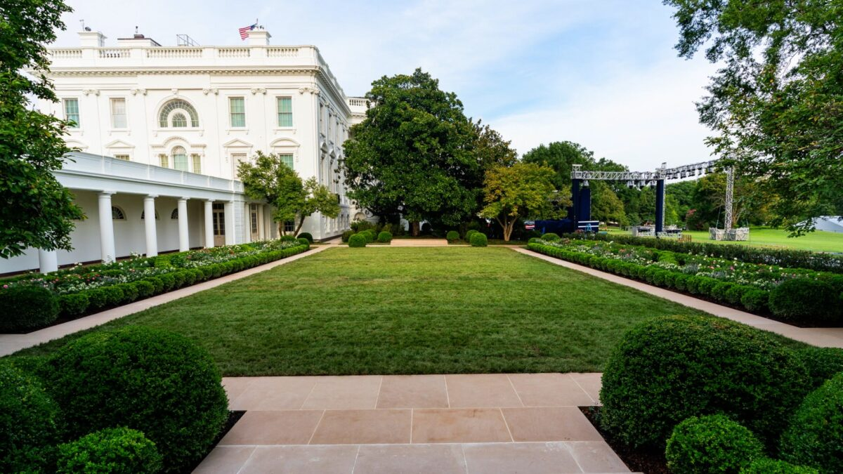First Lady Melania Trump Unveils White House Rose Garden Renovations