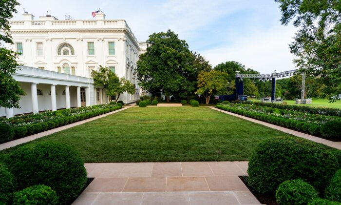 The completion of first lady Melania Trump's historic restoration to the White House Rose Garden in Washington on Aug. 21, 2020. (Official White House Photo by Andrea Hanks)