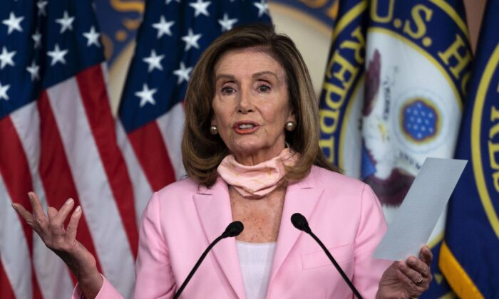 House Speaker Nancy Pelosi (D-Calif.) speaks during a press conference before the vote on the 'Delivering for America Act' to protect the postal system on Capitol Hill in Washington on Aug. 22, 2020. (Andrew Caballero-Reynolds/AFP via Getty Images)