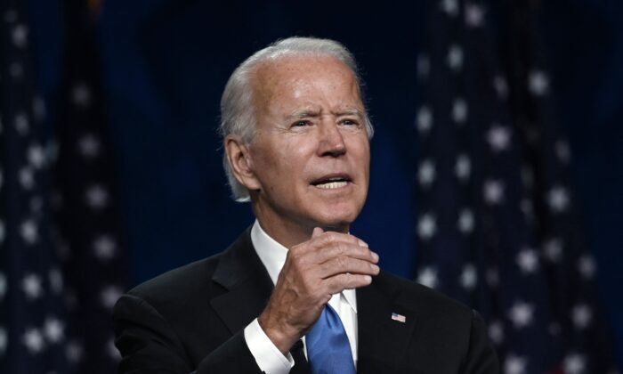 Democratic presidential nominee Joe Biden speaks inside the Chase Center in Wilmington, Del., on Aug. 20, 2020. (Olivier Douliery/AFP via Getty Images)