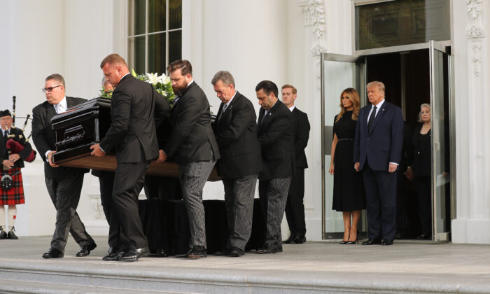 President Donald Trump and first lady Melania Trump follow his brother Robert Trump's casket out of the White House following his funeral service in Washington on Aug. 21, 2020. (Chip Somodevilla/Getty Images)