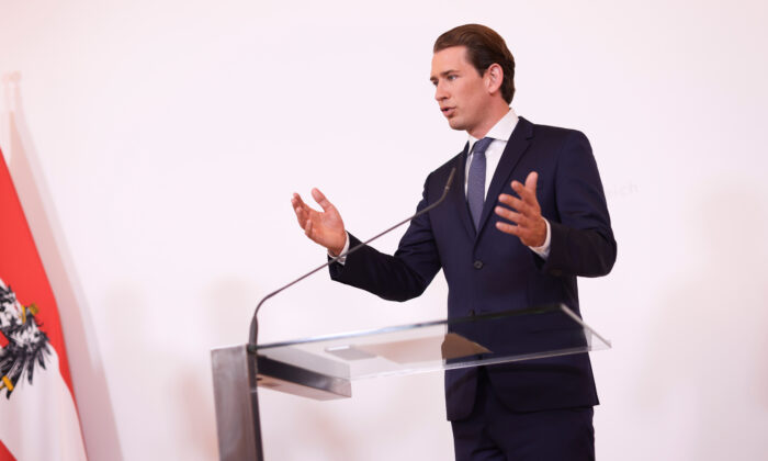 Austrian Chancellor Sebastian Kurz speaks during a news conference in Vienna on Aug. 18, 2020. (Lisi Niesner/Reuters)