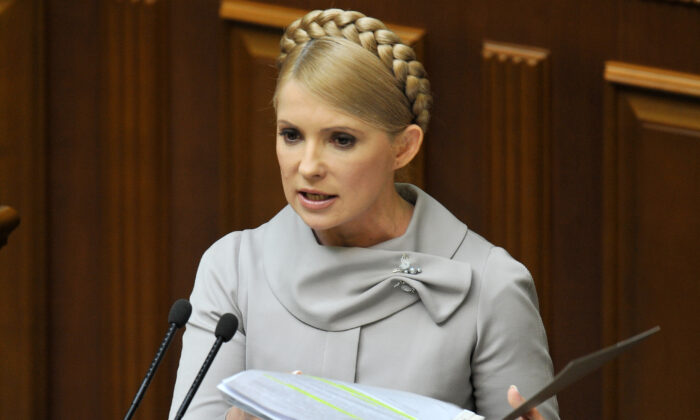 Former Ukrainian Prime Minister Yulia Tymoshenko addresses the parliament in Kiev on March 3, 2010. (Sergei Supinsky /AFP via Getty Images)