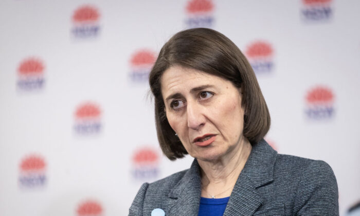 NSW Premier GladysBerejiklian at a press conference in Homebush in Sydney, Australia on Aug. 17, 2020. (Brook Mitchell/Getty Images)