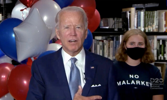 Democratic presidential nominee former Vice President Joe Biden gives a thank you speech with supporters during the virtual 2020 Democratic National Convention on Aug. 18, 2020.  (Handout/DNCC via Getty Images)